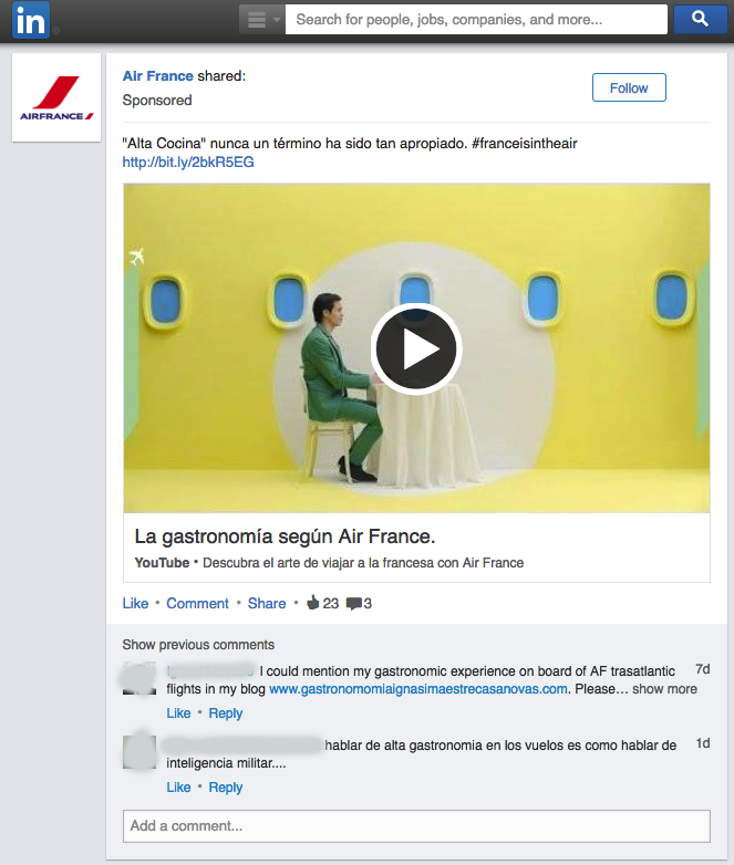 tipo de anuncio publicacion patrocinada en linkedin ads