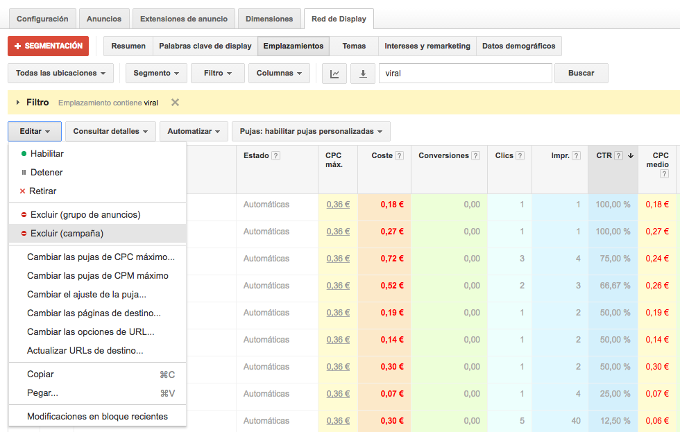 excluir ubicaciones en campañas de display google adwords