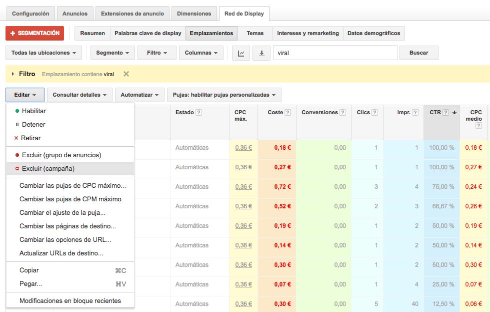 excluir ubicaciones en campañas de display google adwords
