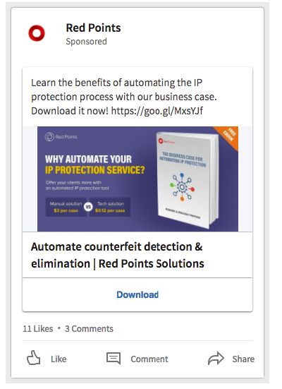 Anuncio Linkedin Lead Gen Form para Redpoints - Magnetica Advertising