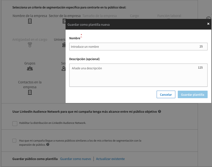 Opción Guardar publico como plantilla en Linkedin - Magnetica Advertising