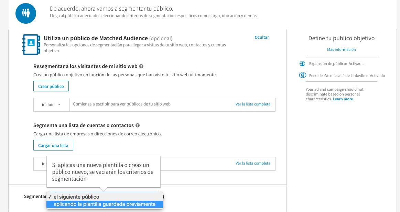Opcion segmentar aplicando publico existene en Linkedin - Magnetica Advertising