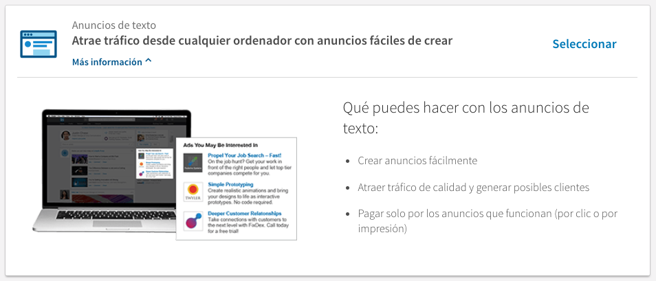 Anuncios de Texto - tipos de anuncios en Linkedin