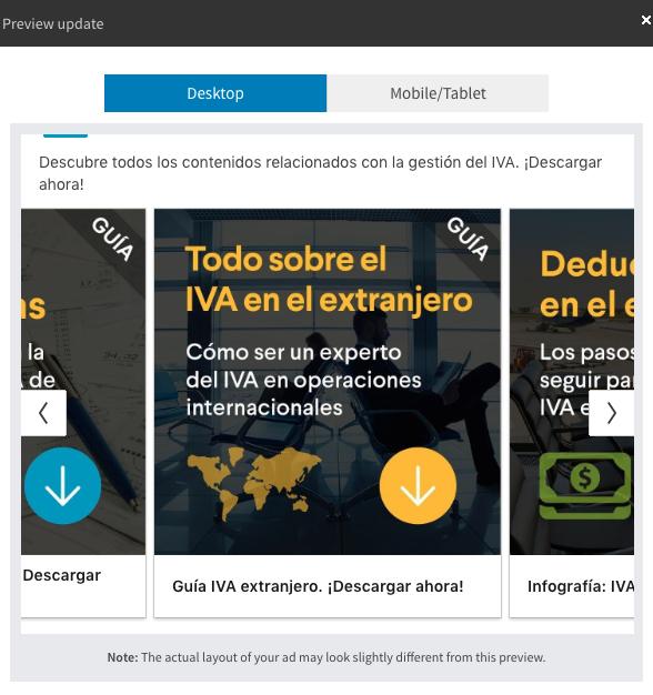 anuncio carrusel con URL a una página de destino anunciante Captio