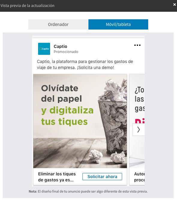 anuncio carrusel con lead gen form anunciante Captio