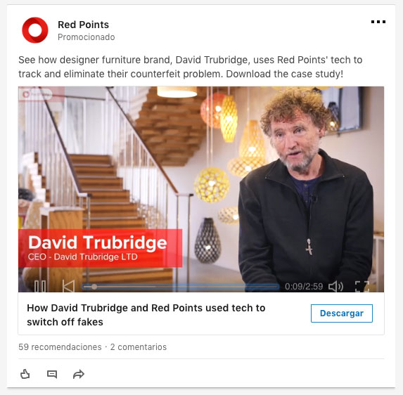 Ejemplo anuncio de video Linkedin