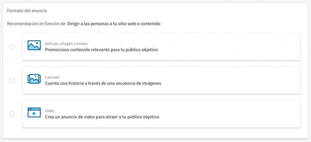 Formato del anuncio en Linkedin campaign manager