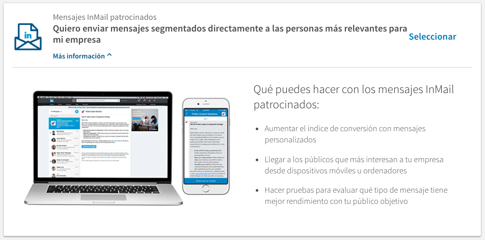 Mensajes Inmail patrocinados - tipos de anuncios en Linkedin
