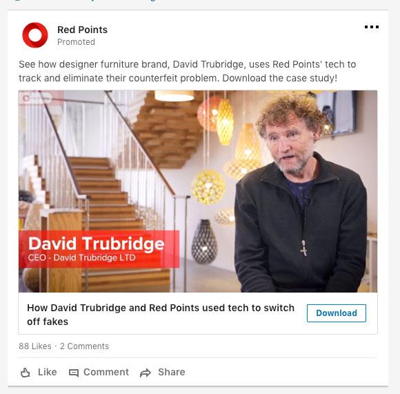 anuncio en desktop de video con lead gen form de anunciante RedPoints