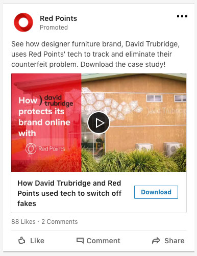 anuncio en móvil de video con lead gen form de anunciante RedPoints