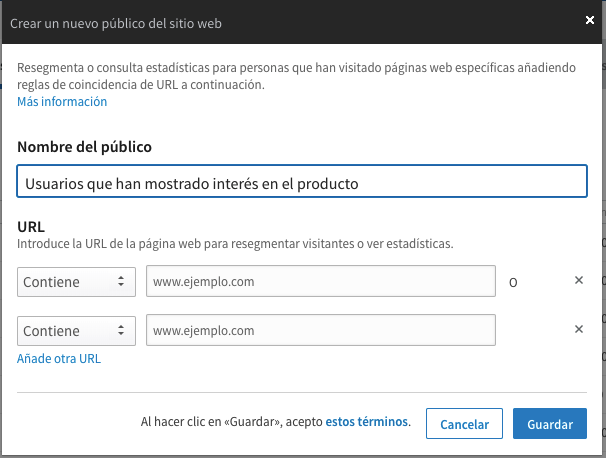 creacion de lista de remarketing en Linkedin Marketing Solutions