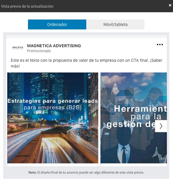 ejemplo anuncio carrusel en desktop