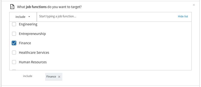 linkedin targeting by job function