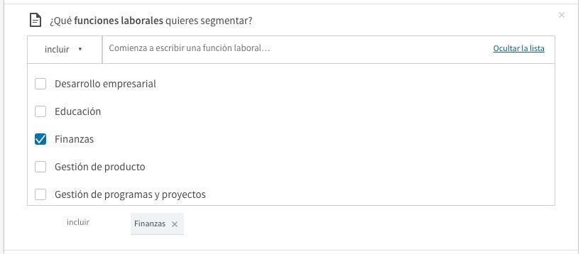segmentacion campaña linkedin por funcion laboral