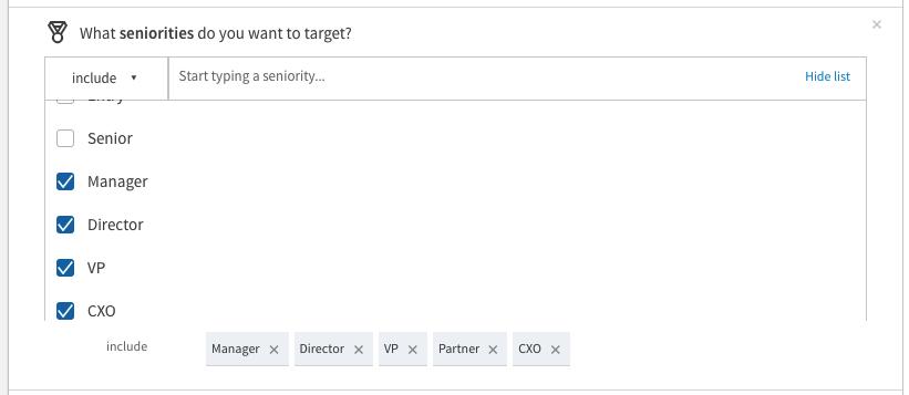 targeting linkedin members by seniority