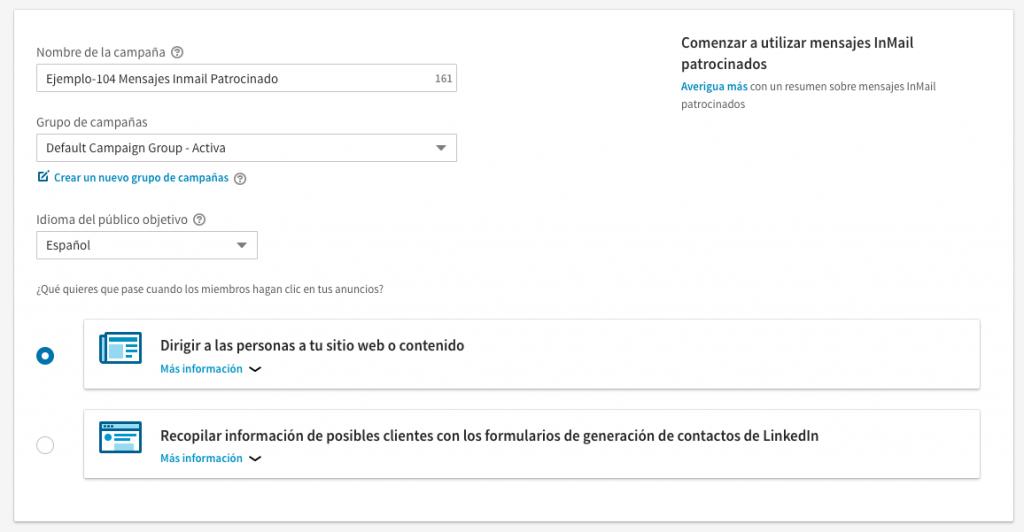 anuncio en Linkedin del tipo Mensajes Inmail Patrocinado