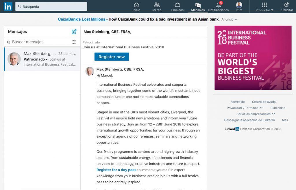 Ejemplo de anuncio mensaje Inmail patrocionado en Linkedin