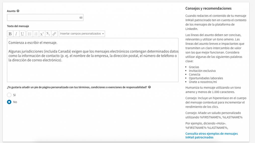 Paso 3 - proceso de creacion anuncio mensaje Inmail patrocionado en Linkedin