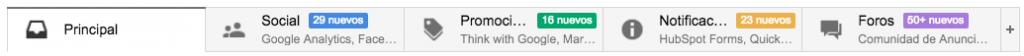 Pestañas cuenta de email con google apps
