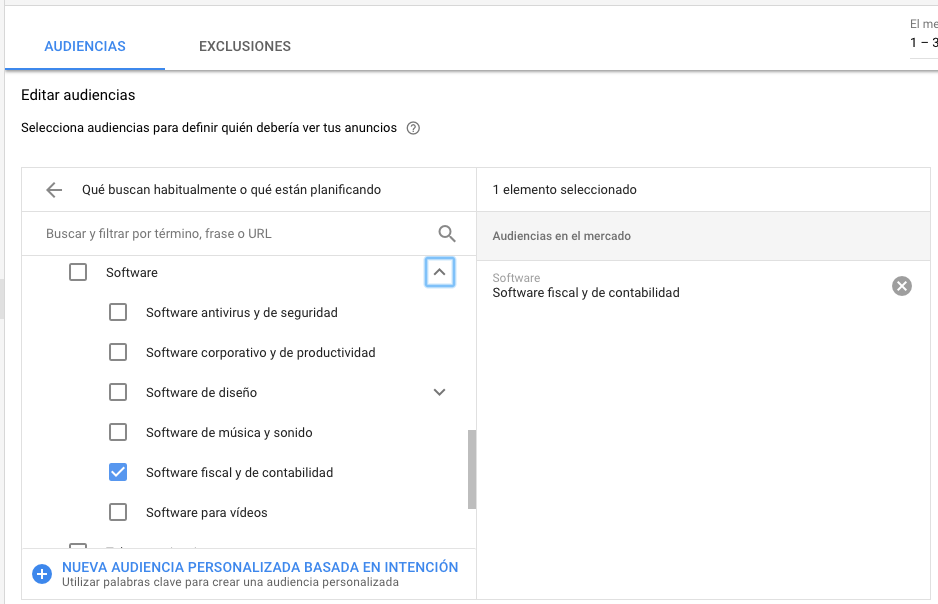 Audiencias en el mercado en Google Ads