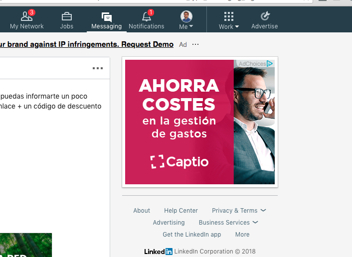 Anuncio banner de Captio en Linkedin a traves de Adroll