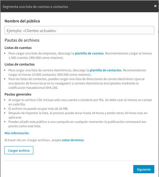 Cargar lista de empresas en Linked Adminstrador de Campañas