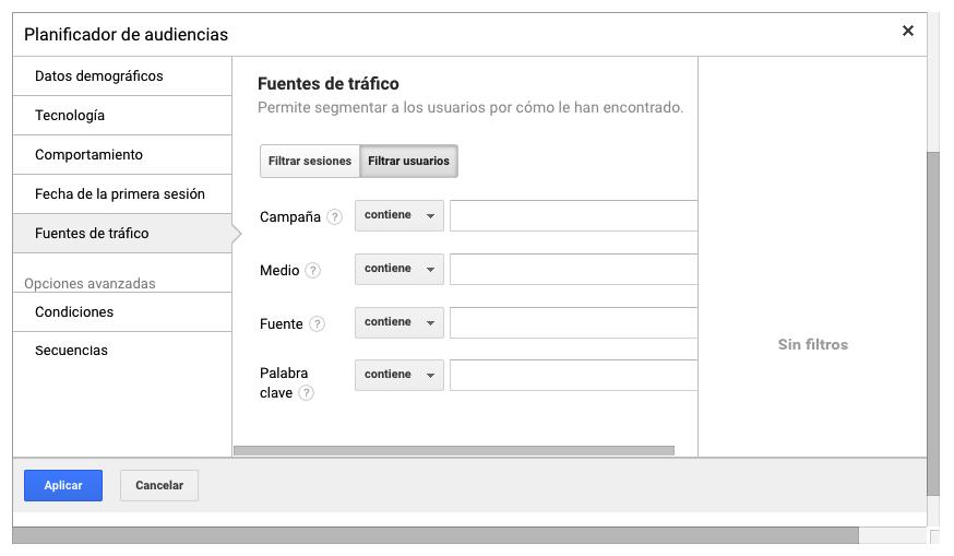 Configuracion de listas de remarketing en Google Analytics