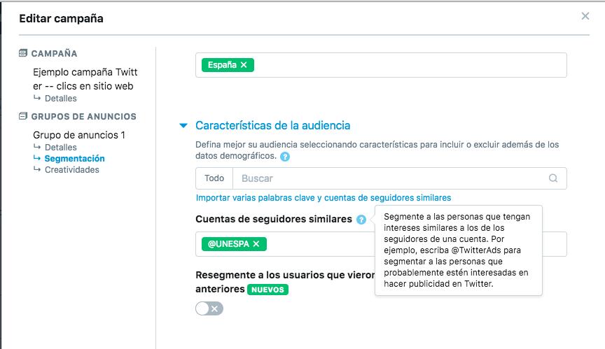 Segmentacion en Twitter por cuentas de seguidores