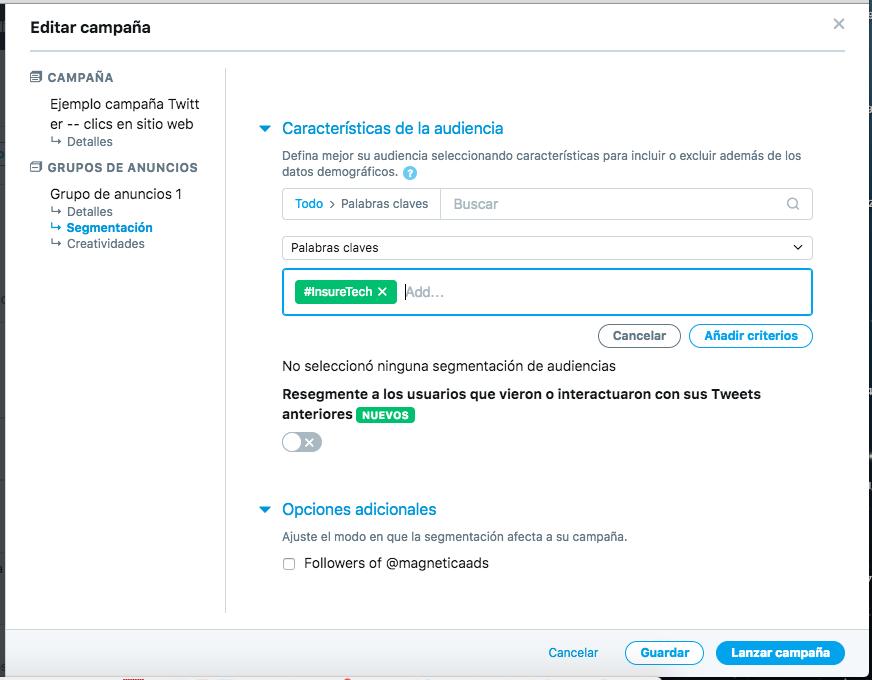 Segmentacion en Twitter por palabras clave