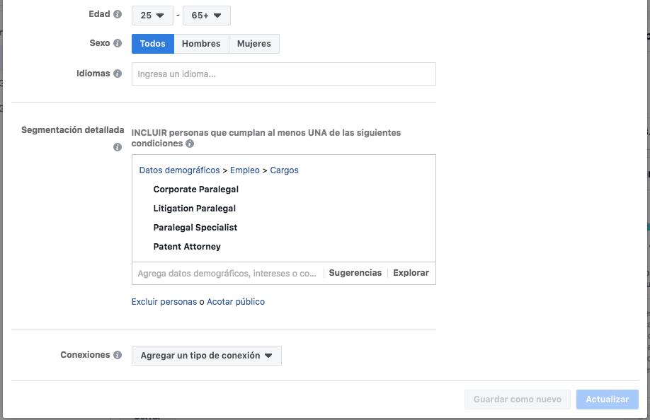 Segmentacion segun cargo en Facebook Ads