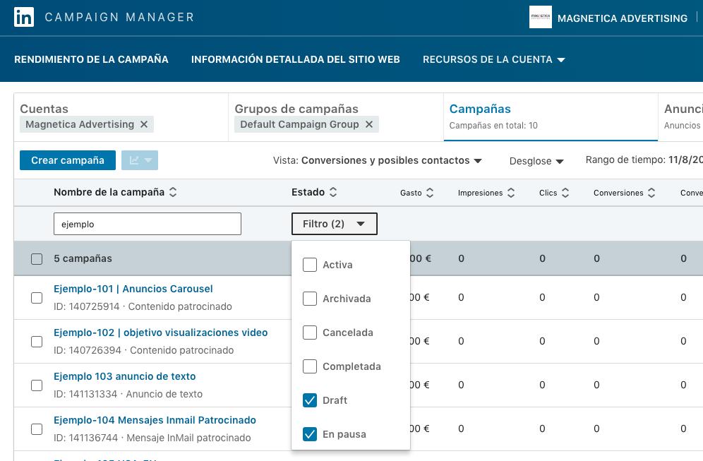 Checkbox seleccion estado en interfaz gestor campaña linkedin beta