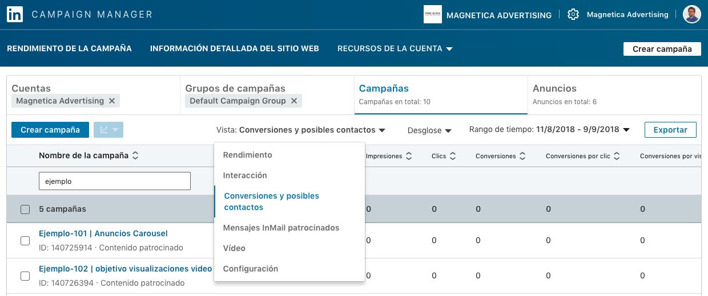 Opcion conversiones y posibles contactos nueva interfaz Linkedin campaign manager