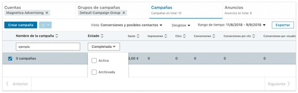 estados de campaña no se muestran bien en nueva interfaz linkedin campaign manager