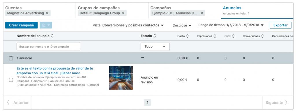 visualizacion de metricas asociadas a anuncios en nueva interfaz beta de Linkedin campaign manager