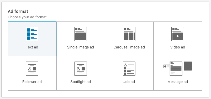 Ad format selection in the new Linkedin Objective-Based Campaign Manager