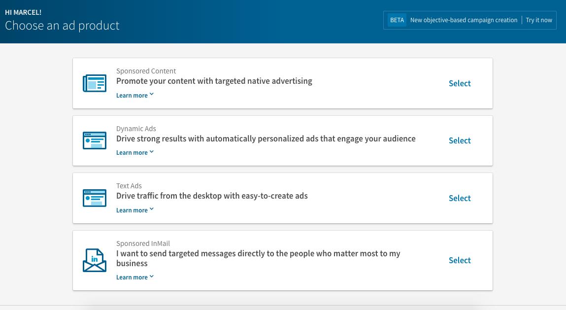 Anuncios dinamicos en la antigua interfaz del gestor de campañas de LinkedIn