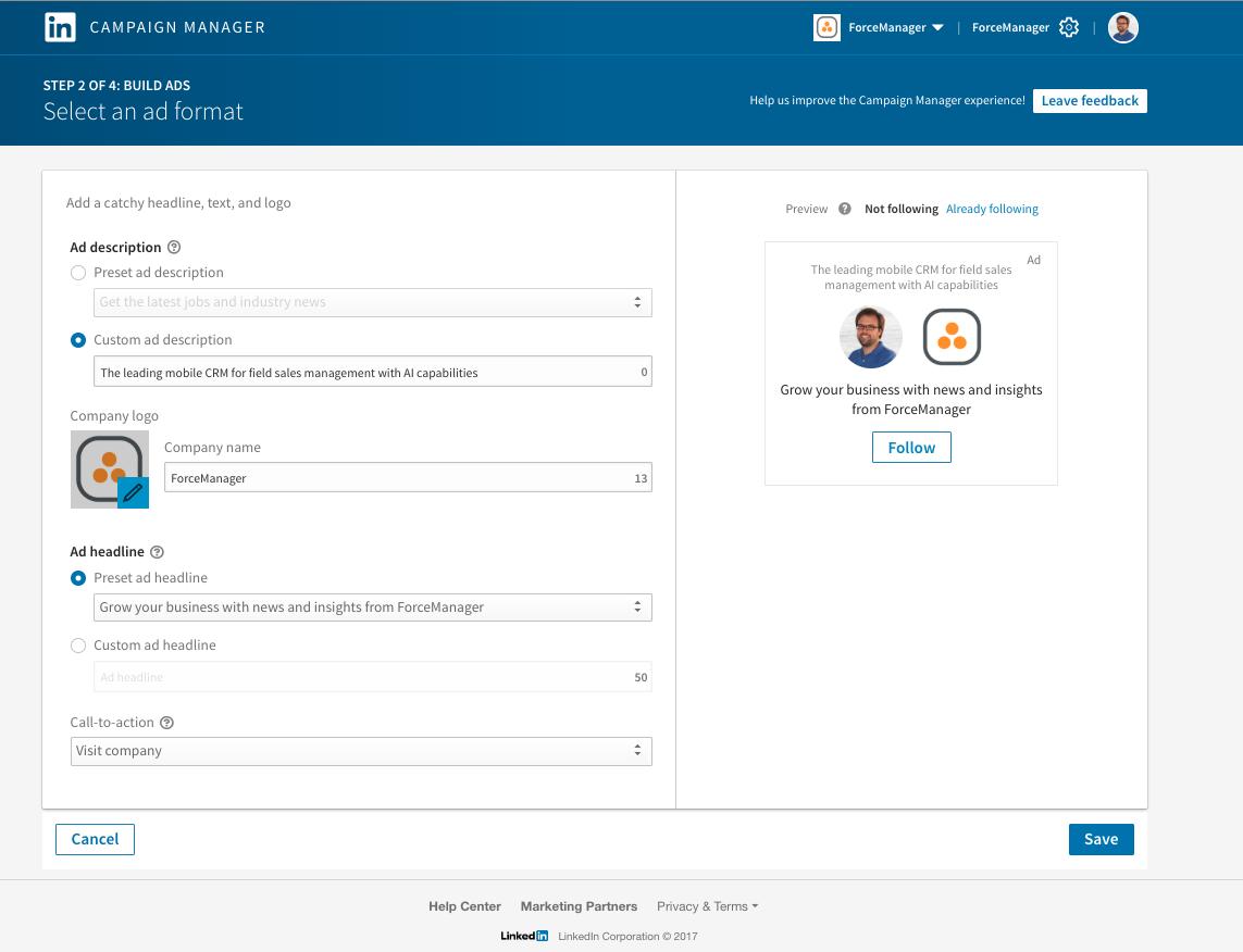 Configuracion y visualizacion anuncio captacion seguidores LinkedIn
