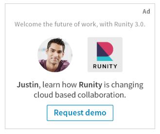 Ejemplo de anuncio dinamico spotlight personalizado Linkedin