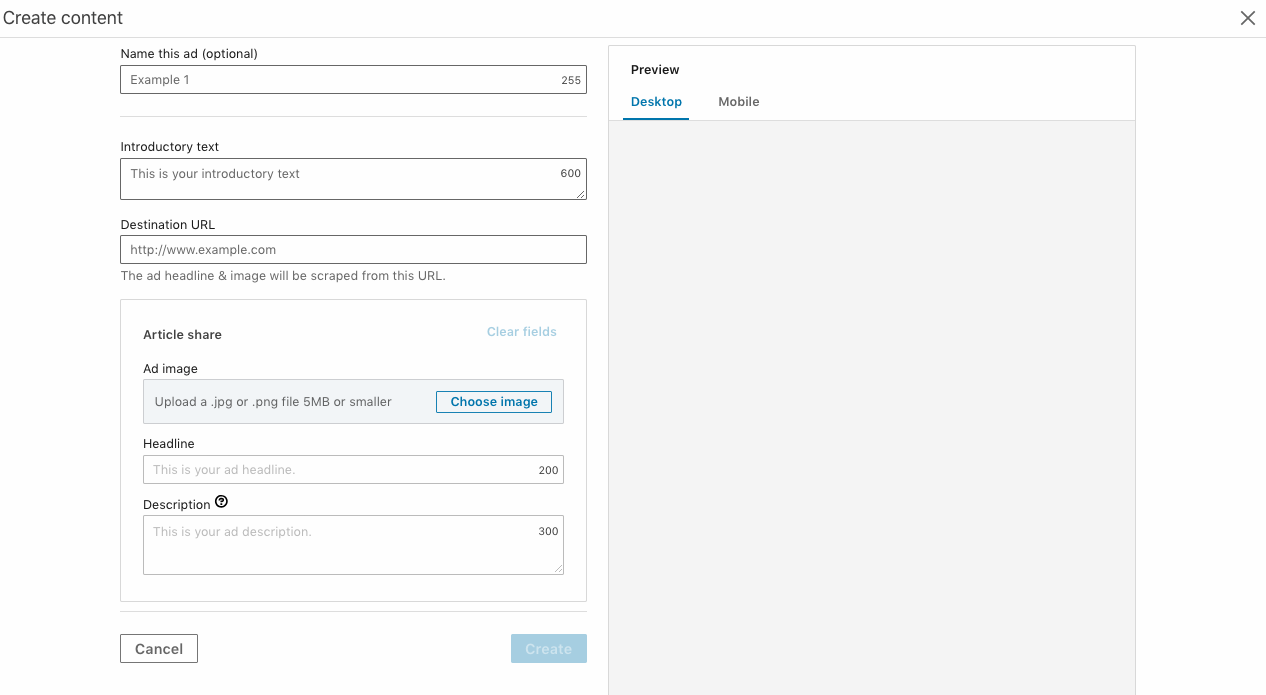 Interface to create an ad in the new Linkedin Campaign Manager