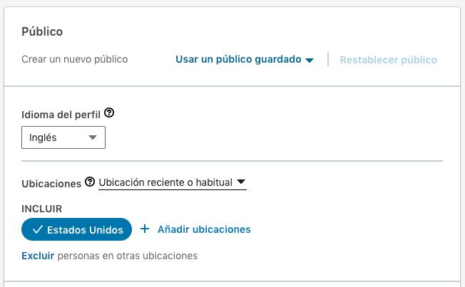 configuracion de publico Linkedin