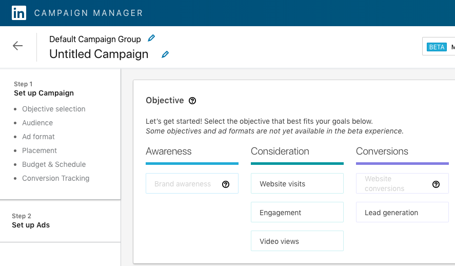Select the objective in LinkedIn Campaign Manager