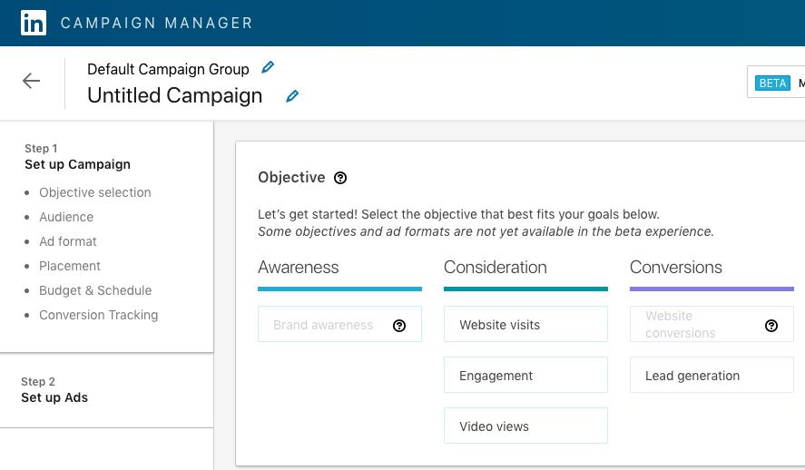 """Résultat de recherche d'images pour """"Linkedin Campaign Manager nouvelle interface"""""""