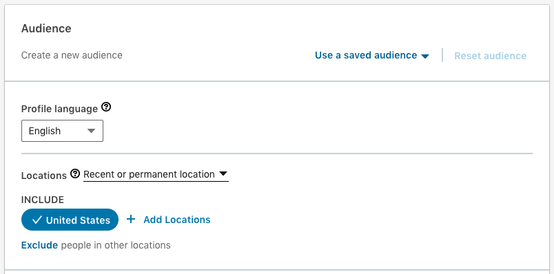 Setting up the Audience in new Linkedin Objective-Based Campaign Manager