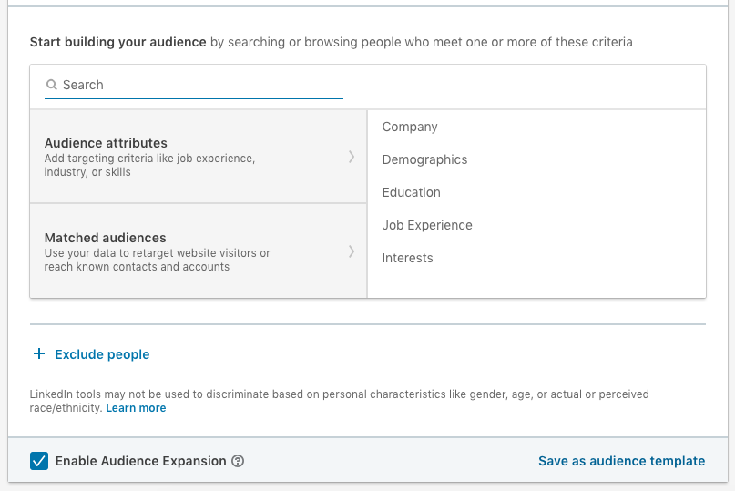Target Criteria in the new Linkedin Objective-Based Campaign Manager