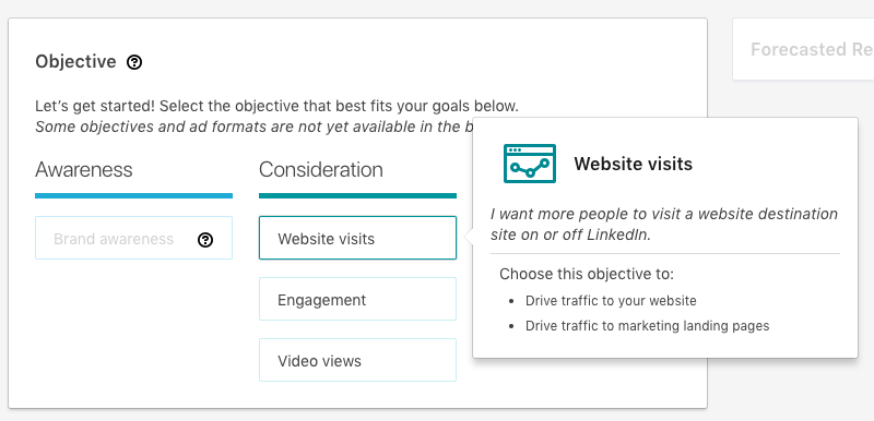 Website Visits objective in Linkedin Campaign Manager