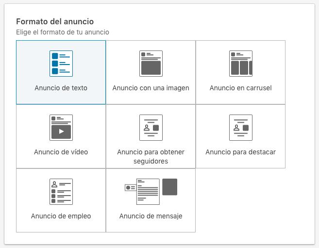 seleccion del formato de anuncio en nueva interfaz Linkedin