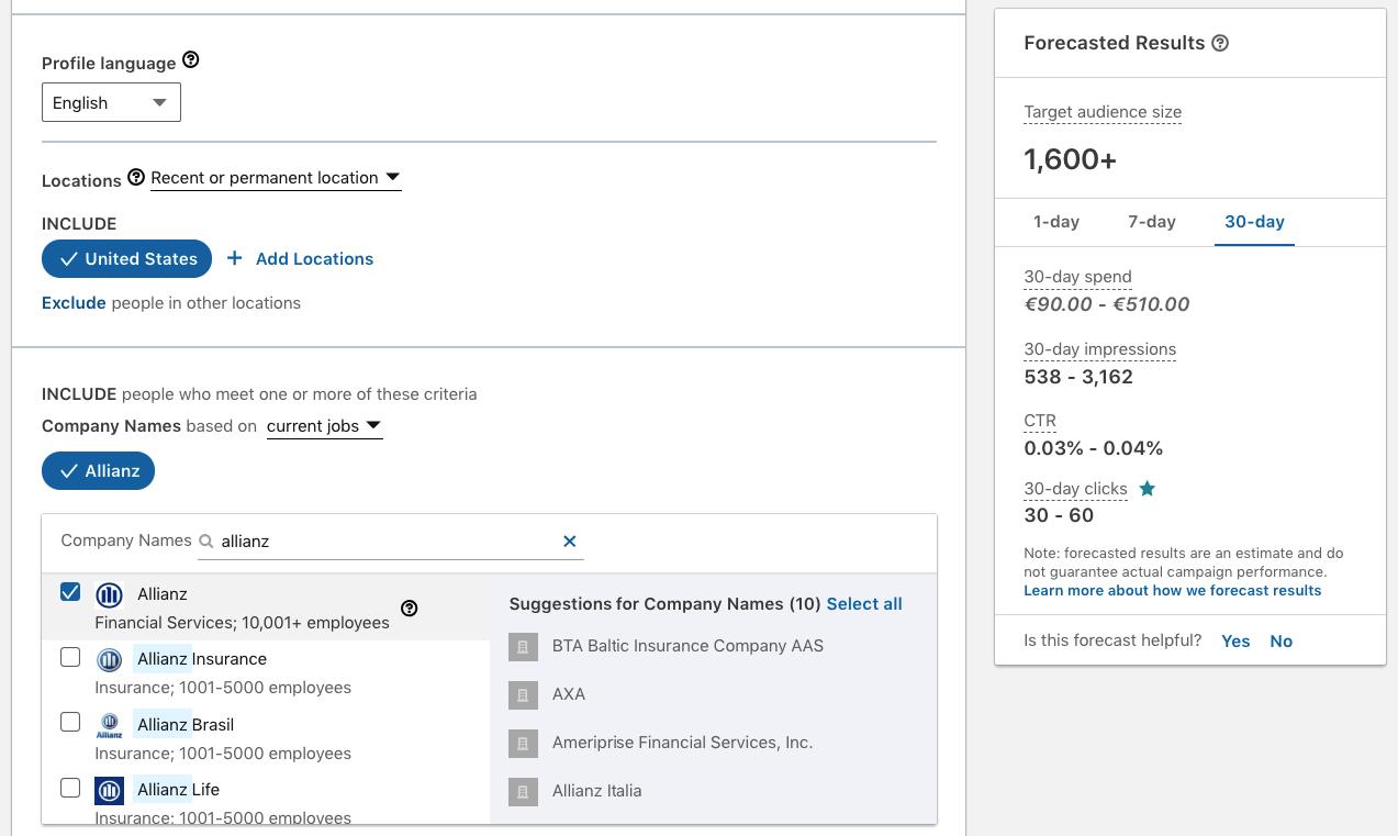 Segmentacion por empresa en Linkedin Campaign Manager