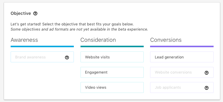 campaign objective selection in the new linkedin interface