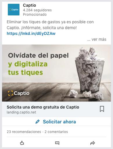 Ejemplo de anuncios de contenido patrocinado con Formulario de Generación de Contactos