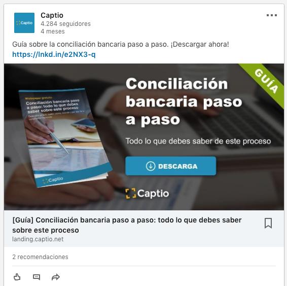 Ejemplo de anuncios de contenido patrocinado con URL a landing page